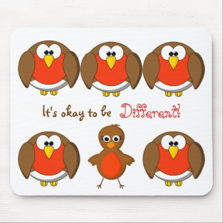 Cute Christmas Robins It's Okay to be Different Mouse Pad