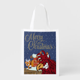 Cute Christmas Rooster, Tiger, Beach Grocery Tote Grocery Bag