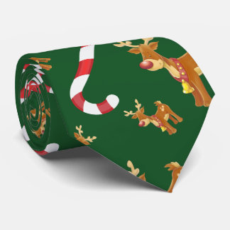 Cute Christmas Rudolph Candy Cane Pattern Green Tie
