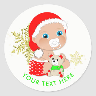 Cute Christmas Santa Baby Personalized Classic Round Sticker