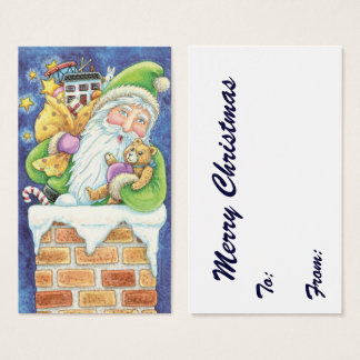 Cute Christmas, Santa Claus in Chimney with Toys Business Card