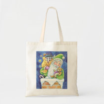Cute Christmas, Santa Claus in Chimney with Toys Tote Bag