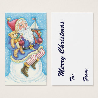 Cute Christmas, Santa Claus on Snowball with Toys Business Card