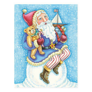 Cute Christmas, Santa Claus on Snowball with Toys Postcard