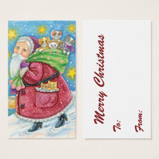 Cute Christmas, Santa Claus with Kittens and Cats! Business Card