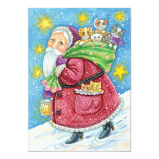 Cute Christmas, Santa Claus with Kittens and Cats! Card