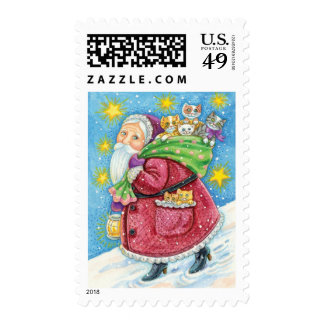 Cute Christmas, Santa Claus with Kittens and Cats! Postage
