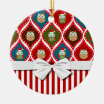 cute christmas santa  holly owls stripes pattern Double-Sided ceramic round christmas ornament