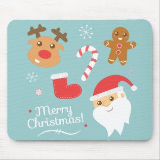 Cute Christmas - Santa, Reindeer, Gingerbread Man Mouse Pad