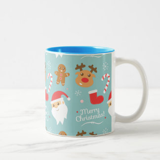 Cute Christmas - Santa, Reindeer, Gingerbread Man Two-Tone Coffee Mug