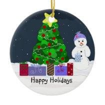 Cute Christmas Scene Ceramic Ornament