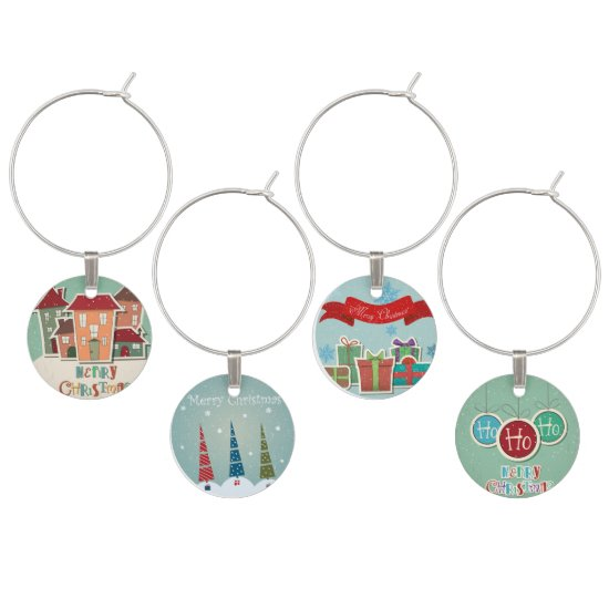 Cute Christmas Scenes Wine Charms
