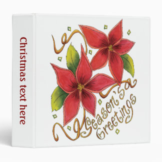 Cute Christmas Season's Greetings with Poinsettias 3 Ring Binders