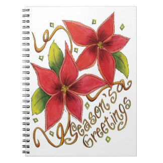 Cute Christmas Season's Greetings with Poinsettias Notebook