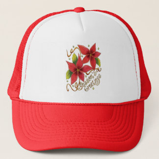 Cute Christmas Season's Greetings with Poinsettias Trucker Hat