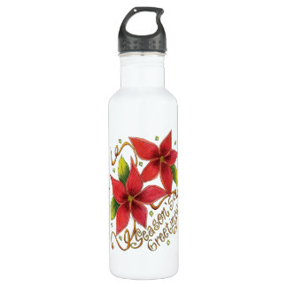 Cute Christmas Season's Greetings with Poinsettias Water Bottle