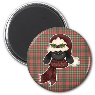 cute christmas sheep 2 inch round magnet