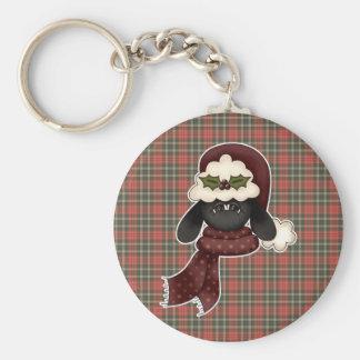 cute christmas sheep basic round button keychain
