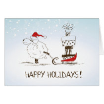 Cute Christmas Sheep Merriment - Happy Holidays Card
