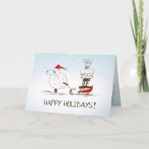 Cute Christmas Sheep Merriment - Happy Holidays Holiday Card
