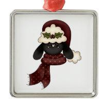 cute christmas sheep metal ornament