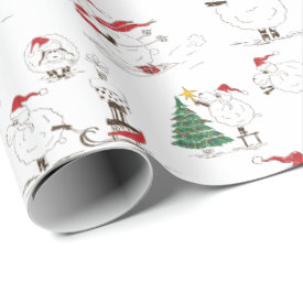 Cute Christmas Sheep Playing Wrapping Paper