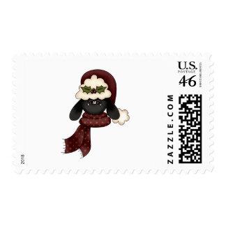 cute christmas sheep postage stamp