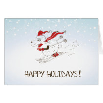 Cute Christmas Sheep Skiing - Happy Holidays Card