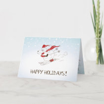 Cute Christmas Sheep Skiing - Happy Holidays Holiday Card