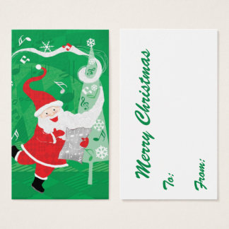 Cute Christmas, Singing and Dancing Santa Claus Business Card
