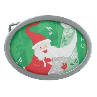 Cute Christmas, Singing and Dancing Santa Claus Oval Belt Buckle
