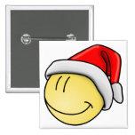 Cute Christmas Smiley Santa Face Pinback Button