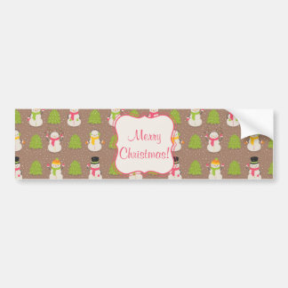 Cute Christmas smiling and waving Snowmans Bumper Sticker