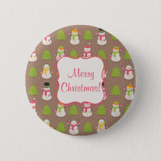 Cute Christmas smiling and waving Snowmans Button