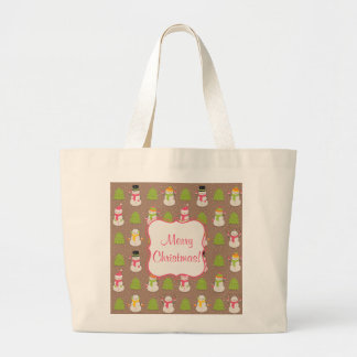 Cute Christmas smiling and waving Snowmans Large Tote Bag