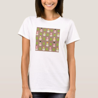 Cute Christmas smiling and waving Snowmans T-Shirt