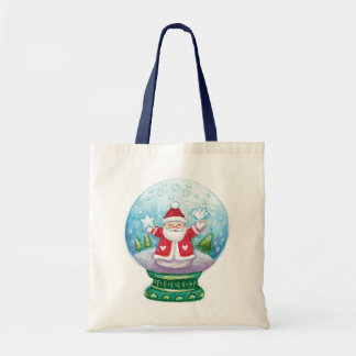 Cute Christmas Snowglobe Santa Claus, Star, Bird Budget Tote Bag