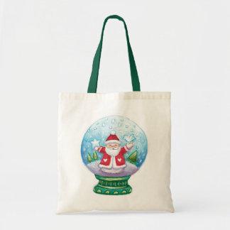 Cute Christmas Snowglobe Santa Claus, Star, Bird Tote Bag