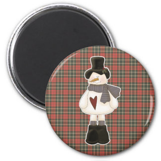 cute christmas snowman 2 inch round magnet
