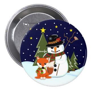 Cute Christmas Snowman and Fox and Custom name Button