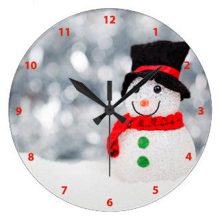 Cute Christmas Snowman Bokeh Large Clock