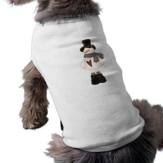 cute christmas snowman doggie t shirt
