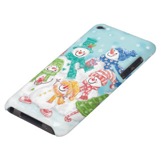 Cute Christmas Snowman Family in the Snow Barely There iPod Case