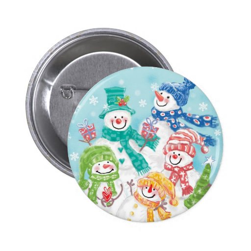 Cute Christmas Snowman Family in the Snow Pinback Button