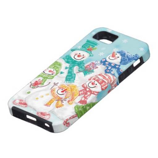 Cute Christmas Snowman Family in the Snow iPhone 5/5S Cover