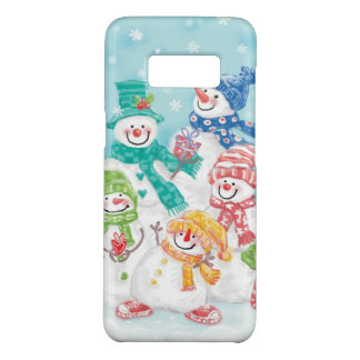 Cute Christmas Snowman Family in the Snow Case-Mate Samsung Galaxy S8 Case