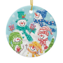 Cute Christmas Snowman Family in the Snow Ceramic Ornament