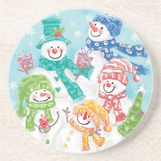 Cute Christmas Snowman Family in the Snow Beverage Coasters