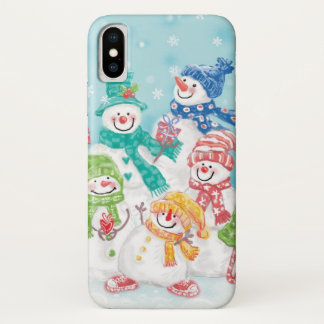 Cute Christmas Snowman Family in the Snow iPhone X Case
