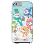 Cute Christmas Snowman Family in the Snow iPhone 6 Case